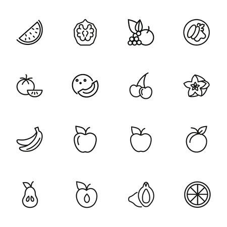 Fruit line icon set. Set of line icons on white background. Food concept. Banana, orange, apple. Vector illustration can be used for topics like fresh market, eco, vegetarian