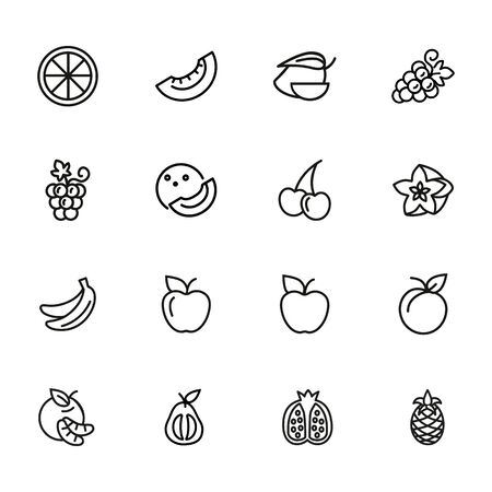 Fruits line icons. Set of line icons on white background. Grapes, cherry, apple. Healthy food concept. Vector illustration can be used for topics like grocery, shop, market