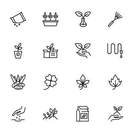 Gardening line icon set. Plants, leaf, hose, rake. Nature concept. Can be used for topics like orchard, farming, agriculture