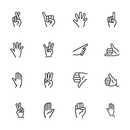 Gesture icon. Set of line icons on white background. Thumb up, open palm, direction. Hand sign concept. Vector illustration can be used for topics like communication, finger language, symbols Vector Illustratie