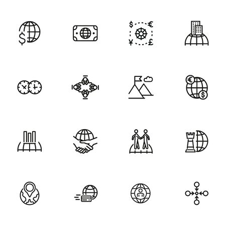 Global business icon set. Line icons collection on white background. Meeting, success, trade. Economics concept. Can be used for topics like finances, collaboration, international company 版權商用圖片 - 134042115