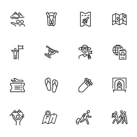Global tourism icon set. Line icons collection on white background. Ticket, resort, destination. Journey concept. Can be used for topics like airport, rafting, traveling
