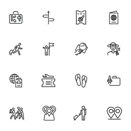 Global travel line icon set. Tourist, luggage, boarding pass, airplane. Tourism concept. Can be used for topics like vacation, journey, voyage 向量圖像
