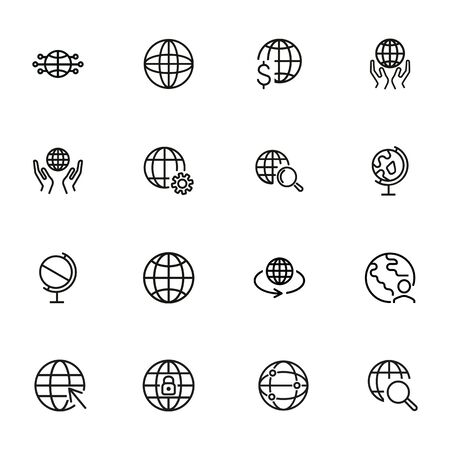Globe line icon set. World, network, hands. Global concept. Can be used for topics like worldwide business, planet, global communication 版權商用圖片 - 134042145