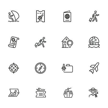 Going on vacation icon set. Travel concept. Vector illustration can be used for topics like cruise, journey, holiday 向量圖像
