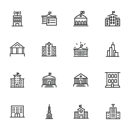 Government building line icon set. School, courthouse, hospital. Architecture concept. Can be used for topics like city, office, headquarter Standard-Bild - 134042146