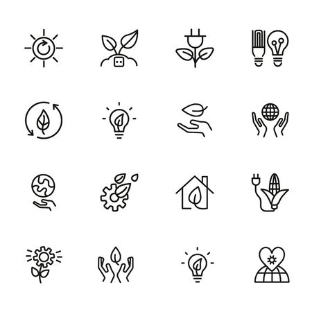 Green energy line icons. Set of line icons on white background. Environment concept. Ecology, planet, leaf, safety. Vector illustration can be used for topics like nature, environment, planet 版權商用圖片 - 134042151