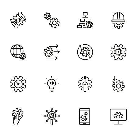 Grids and gears line icons. Set of line icons on white background. Technology concept. Control, internet, machinery. Vector illustration can be used for topics like machinery, progress, industry