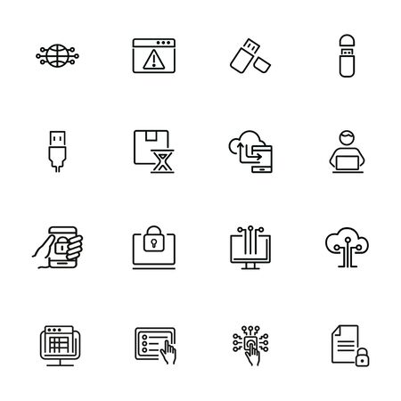 Hacking line icon set. Programmer, computer, memory stick. Information technology concept. Can be used for topics like antivirus, data safety, programming