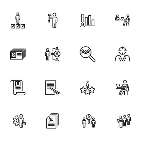 Head hunting line icon set. Candidate, interview, CV. Human resource concept. Can be used for topics like recruitment, job, career