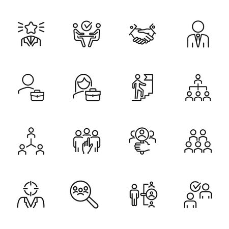 Headhunting icon. Set of line icons on white background. Job interview, hr manager, partnership. Recruitment concept. Vector illustration can be used for topics like business, employment, career