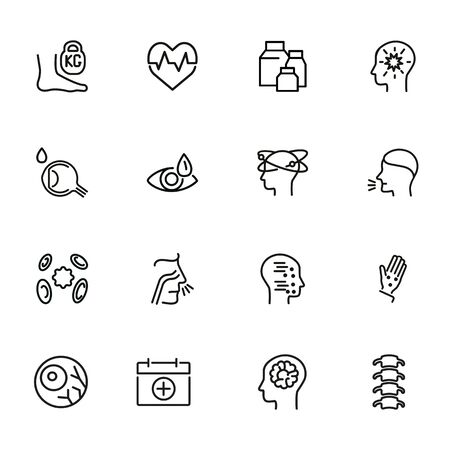 Health care line icon set. Heart disease, eye drops, vertigo, chickenpox. Healthcare concept. Can be used for topics like medicine, symptoms, illness