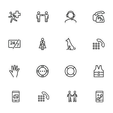 Help line icon set. Call center, hotline, life vest, lifebuoy. Support concept. Can be used for topics like accident, emergency, urgent help Illusztráció