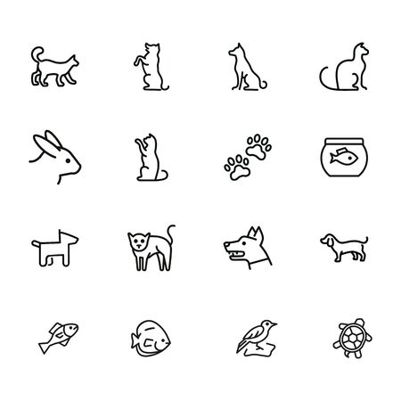 Home pets line icon set. Cat, dog, rabbit. Animals concept. Can be used for topics like veterinary office, clinic, pet shop