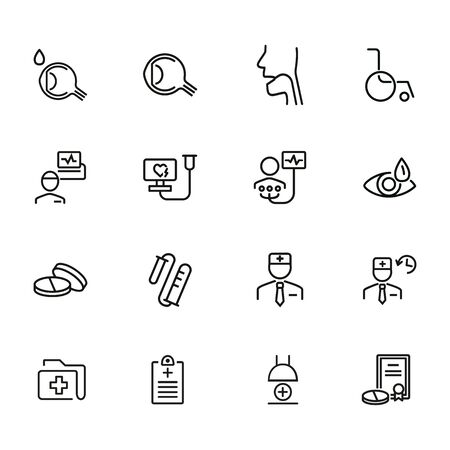 Hospital line icon set. Set of line icons on white background. Healthcare concept. Doctor, investigation, illness. Vector illustration can be used for topics like medicine, health, treatment Illusztráció