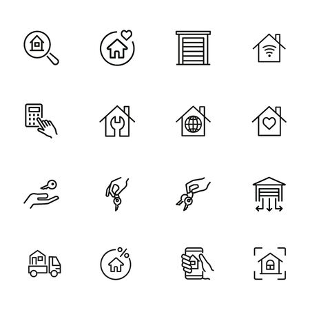 House buying line icon set. Set of line icons on white background. Building, house, home, key. Mortgage concept. Vector illustration can be used for topics like social, real estate