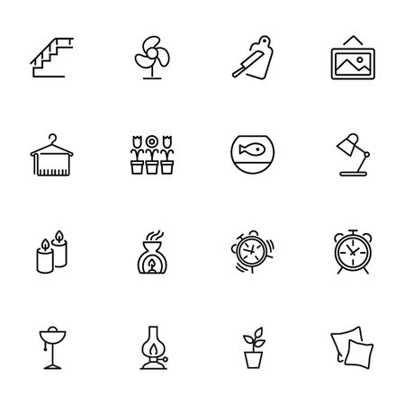 House interior line icons. Set of line icons on white background. Decoration concept. Flowers, stair, candles. Vector illustration can be used for topics like decoration, home, design