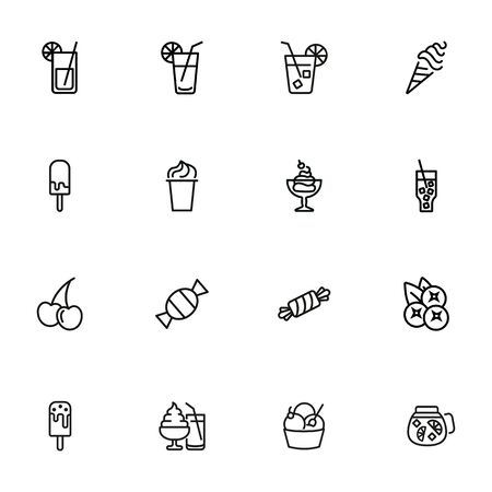 Ice cream and lemonade icons. Set of line icons on white background. Confectionery concept. Vector illustration can be used for topics like sweet, cafe, confectionery shop