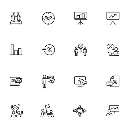 Cooperation line icon set. Communication, graph, video call interview. Business concept. Can be used for topics like head hunting, collaboration, finding professional