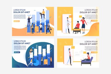 Analysts constructing diagrams set. Patients visiting doctor office. Flat vector illustrations. Business, analysis, consulting concept for banner, website design or landing web page