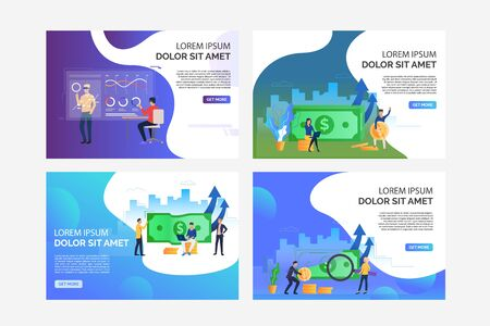Financial analytics set. Analyst watching VR presentation, investors and traders holding money. Flat vector illustrations. Business or finance concept for banner, website design or landing web page Illusztráció