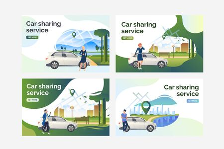 Car sharing service set. Drivers standing at vehicles outside and using cellphones. Flat vector illustrations. Transport, car rent concept for banner, website design or landing web page