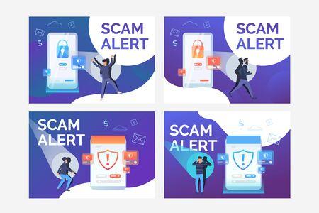 Scam alert set. Hacker attack, cyber criminal, digital device, antivirus. Flat vector illustrations. Technology, safety, data protection concept for banner, website design or landing web page