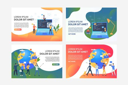Software and travel set. Developers coding for booking website, tourists using gadgets. Flat vector illustrations. Wireless connection technology concept for banner, website design or landing web page Illusztráció