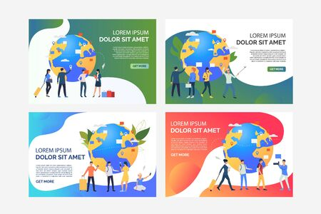 Tourists with luggage using cellphones set. Passengers talking on phones, carrying suitcases. Flat vector illustrations. Travel, vacation concept for banner, website design or landing web page 版權商用圖片 - 134042386