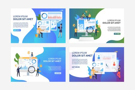 Set of images of people analysing business. Security, graph, finance. Flat vector. Business analysis concept banner, website design or landing web page Illustration