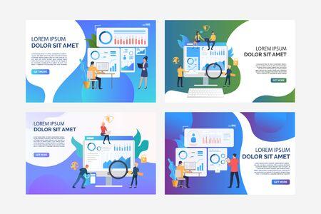 Satz Illustrationen von Geschäftsleuten, die Arbeit analysieren. Finanzen, Grafik, Wachstum. Flacher Vektor. Business-Konzept-Banner, Website-Design oder Landing-Webseite