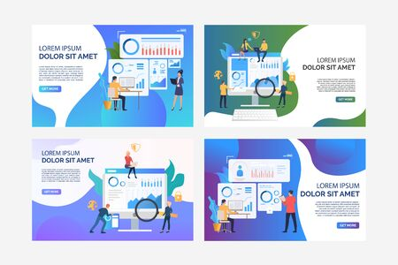 Set of illustrations of business people analysing work. Finance, graph, growth. Flat vector. Business concept banner, website design or landing web page