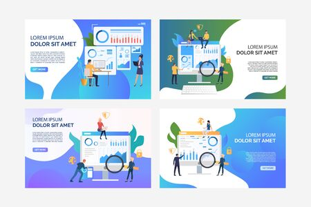 Set of images of people analysing financial issues. Business, security, statistics. Flat vector. Finance analysis concept banner, website design or landing web page