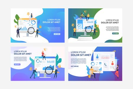 Set of images of people analysing graphs for better security. Business, diagram, finance. Flat vector. Business analysis concept banner, website design or landing web page
