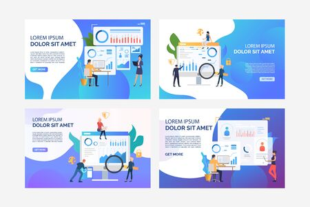 Set of images of people analysing level of security. Business, diagram, finance. Flat vector. Business analysis concept banner, website design or landing web page