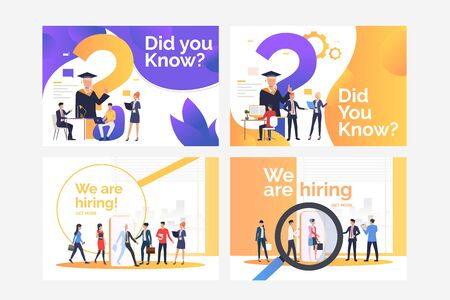 Collection of images with graduating people and people hiring. Education, future, job. Flat vector illustration. Career concept for banner, website design or landing web page