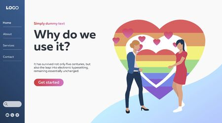 Two women holding lgbt symbol on their hands. Lesbian, tolerance, colourful. Vector illustration with bisexual orientation concept for banner, website design or landing web page