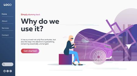 Woman operating car via educational driving stimulator. Technology, glasses, cyberspace. Vector illustration with virtual reality concept for banner, website design or landing web page