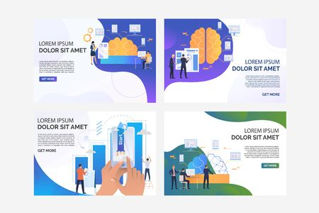 Set of illustrations with people starting their business. Network, phone, statistics. Flat vector. Business startup concept for banner, website design or landing web page Illusztráció