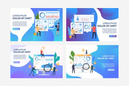 Set of illustrations of business people analysing marketing. Finance, graph, statistics. Flat vector. Marketing analysis concept banner, website design or landing web page Illustration