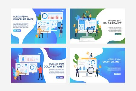 Set of illustrations of business people analysing statistics. Finance, graph, growth. Flat vector. Analysis concept banner, website design or landing web page