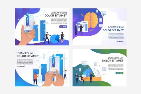 Pack of illustrations with people starting their business. Network, phone, statistics. Flat vector. Business startup concept for banner, website design or landing web page