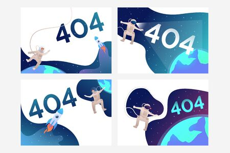 Set of illustrations with cosmonaut flying in space, copy space. 404, security, webpage. Flat vector. Error concept for banner, website design or landing web page