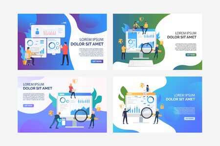 Set of images of people analysing marketing issues. Finance, security, statistics. Flat vector. Marketing analysis concept banner, website design or landing web page