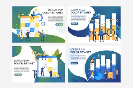 Set of images with people planning and analysing work. Development, teamwork, task board. Flat vector illustration. Business process concept for banner, website design or landing web page Illustration
