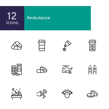 Ambulance line icon set. Set of line icons on white background. Medicine concept. Drug, night, laboratory. Vector illustration can be used for topics like medical, surgery