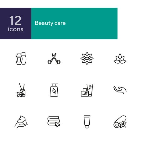 Beauty care line icon set. Shampoo, scissors, towel, flower. Beauty concept. Can be used for topics like cosmetics, spa salon, skin care  イラスト・ベクター素材