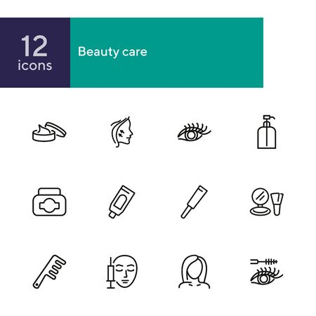 Beauty care line icon set. Cream, eyelashes, mascara, botox. Beautician concept. Can be used for topics like beauty salon, cosmetic products, face lifting  イラスト・ベクター素材