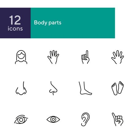 Body parts line icon set. Hand, nose, foot. Body care concept. Can be used for topics like gesturing, healthcare, anatomy Ilustração