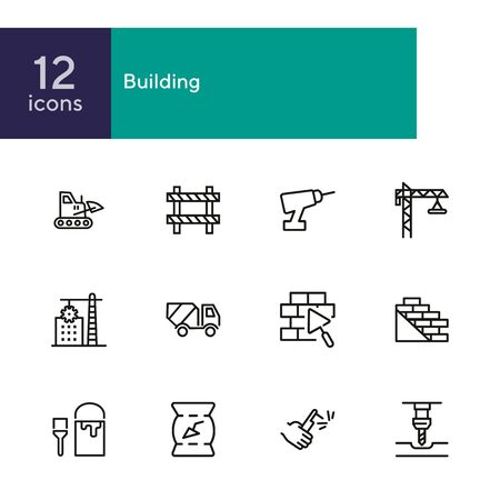 Building line icons. Set of line icons on white background. Building blocks, cement, truckload. Construction concept. Vector illustration can be used for topics like building, house, development